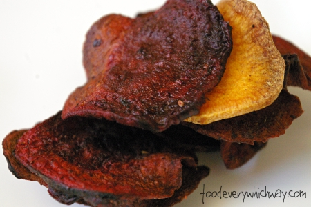 beet (and sweet potato) chips close up