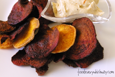 beet (and sweet potato) chips with hummus